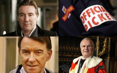 Clockwise from top left: Adam Crozier, The Postal Strike, Lord Myners, Lord Mandelson